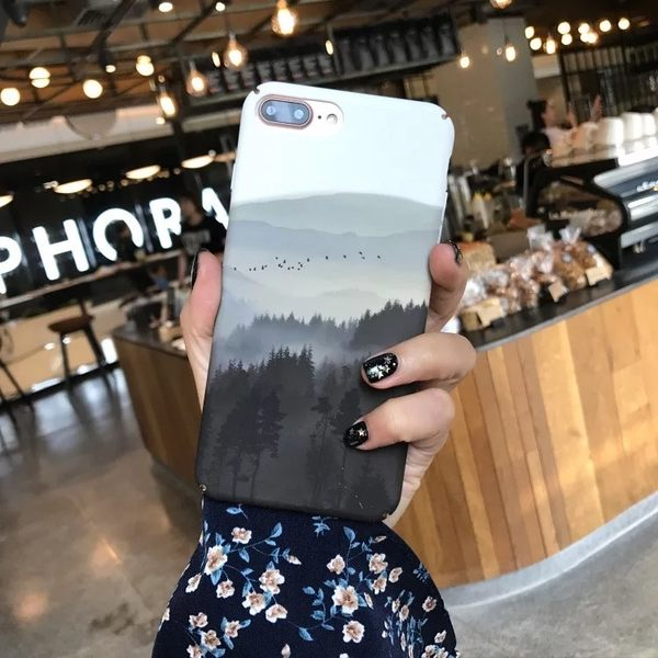 iPhone手機殼 中國復古個性山水畫 磨砂硬殼 蘋果iPhone7/iPhone6手機殼