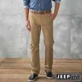 【JEEP】經典純色修身休閒長褲 (卡其色)