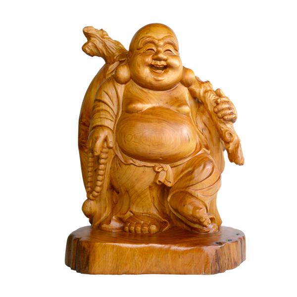 台灣檜木布袋彌勒佛 23/20/32 一件限量的現代家居雕刻擺飾件 招福木藝文物品擺飾