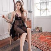 大尺碼睡衣~Annabery豔黑繡花不規則裙襬柔紗二件式睡衣《Life Beauty》