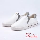 kadia.懶人鞋-質感素面牛皮休閒鞋(8523-10白色)