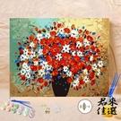 花卉手工diy數字油畫風景成人減壓手繪植物填色畫客裝飾油彩畫【君來佳選】