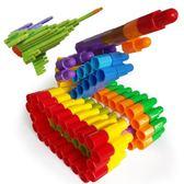 子彈頭積木益智早教幼兒園1-2-4男孩塑料拼插組裝3-6周歲兒童玩具 qf2425【黑色妹妹】