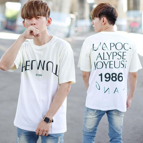 T恤 1986漸層渲染文字短T【NB0598J】