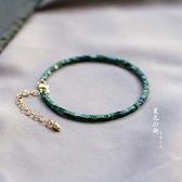 手鐲 手錬極細綠松石手鏈 古風首飾復古k金清新綠色女小眾手鐲