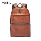 【FOSSIL】Evan 雙色拼接真皮口袋後背包-咖啡色 SBG1222200