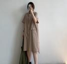 *花漾e裳*連身裙【文藝亞麻薄款簡約寬鬆舒適連身裙洋裝】