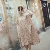 Queen Shop【01084814】小格紋反摺袖寬版襯衫洋裝 兩色售*現+預*