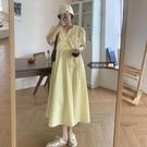 胖妹妹夏天顯瘦長裙2021新款大碼法式短袖洋裝女v領氣質小裙子 黛尼時尚精品