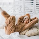 睡衣 家居服連身睡衣女冬可愛卡通動漫加厚加絨冬天學生珊瑚絨家居服可外穿 M-2XL 交換禮物
