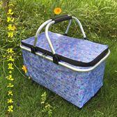 大號野餐保溫包購物籃保鮮籃外賣超市保冷飯盒車載手提折疊外送箱YXS    韓小姐