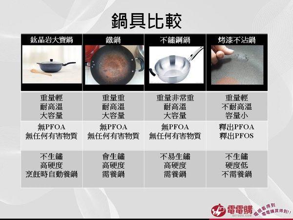 (現貨供應中)【CUOCO】超大容量鈦晶岩大寶鍋34cm(鍋蓋+木鏟+隔熱夾)-電電購