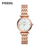 FOSSIL Carlie Mini 迷你奢華女性鍊錶-玫瑰金 28mm