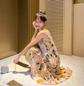 BabyShare時尚孕婦裝  【AUG1132】 現貨新品 渡假風 黃花朵背心長裙 孕婦裙