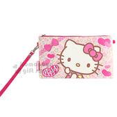 〔小禮堂〕Hello Kitty 皮質手機包《粉.橫式.彩色豹紋.蝴蝶結》附腕繩 方便拿取 8039033-50025