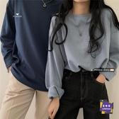 情侶T 情侶款寬鬆長袖純色T恤2020新款秋季女港風打底衫韓版中長款上衣