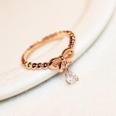 戒指 玫瑰金純銀 鑲鑽-優美蝴蝶結生日情人節禮物女飾品73by50【時尚巴黎】