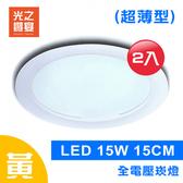 【光之饗宴】LED 崁燈 15W 15公分 超薄型(黃光---2入組)