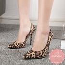 尖頭高跟鞋 豹紋絨質性感百搭 晚宴鞋 新娘鞋 大尺碼35-40*Kwoomi-A62