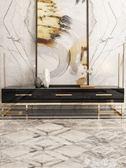 電視櫃後現代輕奢烤漆電視櫃鋼琴烤漆黑白色簡約鍍金不銹鋼茶幾組合家具 igo摩可美家