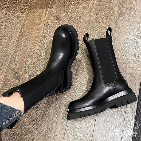 馬丁靴 厚底切爾西短靴女馬丁靴潮英倫風煙筒中筒靴網紅mona同款鞋子 新年禮物