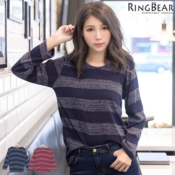 質感--率性簡單親膚質感圓領貼條前短後長寬條紋磨毛針織長袖上衣(紅.藍XL-5L)-X195眼圈熊中大尺碼