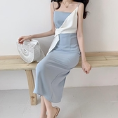 2020夏季新款溫柔超仙心機開叉吊帶洋裝女氣質顯瘦藍色禮服裙子 【ifashion·全店免運】