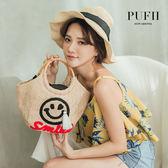 PUFII-包包 笑臉編織草包-0418 現+預 春【CP16523】