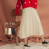 (現貨)PUFII-中長裙 氣質針織百摺鬆緊腰中長裙 3色-1101 現+預 秋【CP15475】