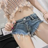 年終大促 2018夏季時尚新款女裝百搭超低腰翹臀熱褲水洗磨毛三角牛仔短褲潮