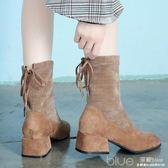 秋冬韓版顯瘦中跟女靴子短靴英倫風粗跟chic馬丁靴瘦瘦靴 深藏blue