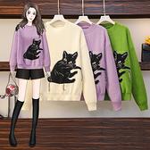VK精品服飾 韓系名媛動物紋貓咪大碼針織衫單品長袖上衣