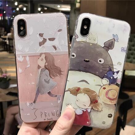 【SZ35】iPhone X手機殼 龍貓 貓咪女孩 全包軟殼 iPhone7/8 plus手機殼 iPhone 6s手機殼