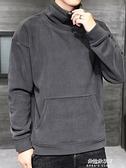 半高領連帽T恤男士2020新款秋季韓版潮流秋裝加絨厚款外套秋冬上衣服 牛年新年全館免運