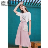 香影網紗半身裙女2020粉色網紗百褶半身裙夏裝 歐韓時代