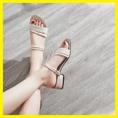 韓版中跟涼鞋拖鞋兩穿女夏季2019新款粗跟chic復古羅馬鞋百搭女鞋