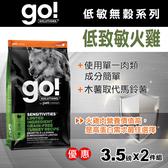 【毛麻吉寵物舖】Go! 低致敏火雞肉無穀全犬配方 3.5磅 兩件優惠組-WDJ推薦 狗飼料/狗乾乾