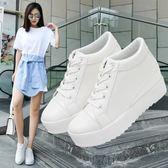 2018新款鬆糕底厚底白鞋子內增高女鞋2018春季韓版學生百搭小白鞋 【PINKQ】