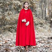中大尺碼冬裝加厚披風外套巫師帽大擺超長款斗篷毛呢復古大衣女 js11614『科炫3C』