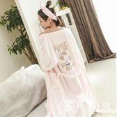 韓版甜美公主睡袍女秋冬法蘭絨長袖睡衣加厚加長珊瑚絨浴袍家居服