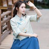 春夏裝新款民族風女裝復古盤扣繡花寬鬆顯瘦中式改良漢服上衣