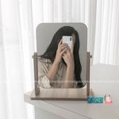 木質化妝鏡 ins簡約木質鏡子可調節角度桌面化妝鏡臺式學生宿舍鏡子