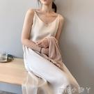 絲綢緞面雪紡洋裝復古冷淡風內搭長裙春季中長款法式打底吊帶裙 蘿莉新品
