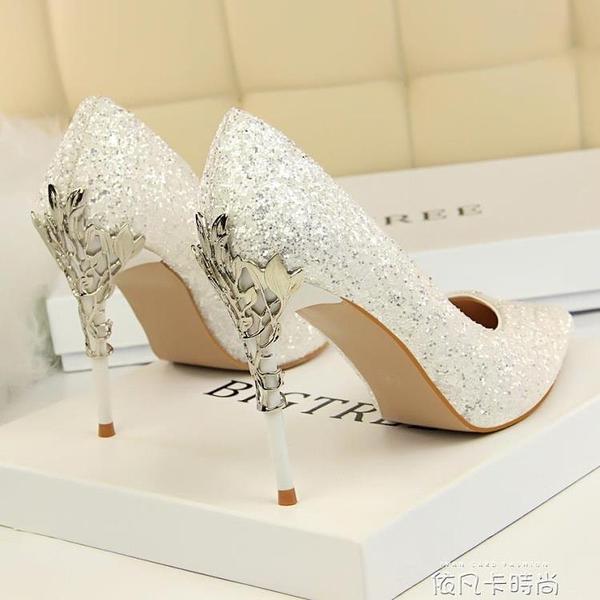 名媛少女高跟鞋女2020春款性感超細跟鋼跟ins仙網紅百搭水晶單鞋 依凡卡時尚