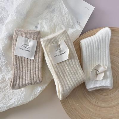 羊毛襪子 3雙豎條羊毛襪子女加厚秋冬季羊絨襪日系韓國中筒襪ins潮純色堆堆