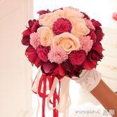 手捧花 結婚新娘手捧花 婚慶道具絹花創意韓式仿真手捧花 婚禮用品 晶彩生活