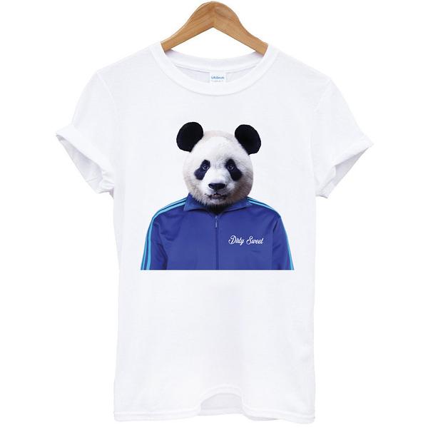 Panda Jacket短袖T恤-白色t 熊貓貓熊環保設計動物狗狗趣味幽默成人Gildan亞洲版型