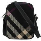 BURBERRY絕版蘇格蘭格紋羊毛小型斜背包(黑色)083654