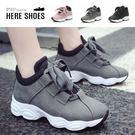 [Here Shoes]休閒鞋-絨面質感  中性率性 鞋頭皮革拼接 休閒鞋 運動鞋 老爹鞋-KDWJ09