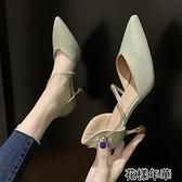 女鞋新款春季時尚百搭水鉆尖頭仙女風高跟鞋女細跟一字 快速出貨